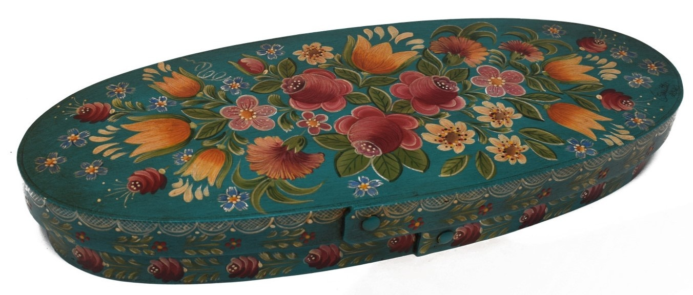 Oval box teal with flowers-3