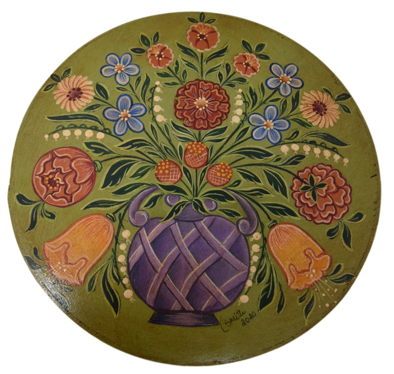 Round box light green with lavender basket vase and flowers-1