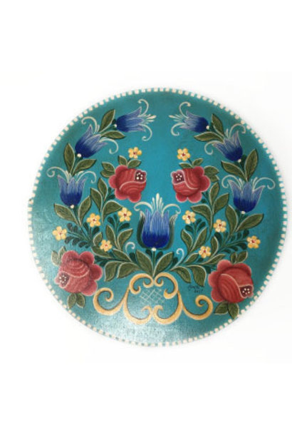 Round Sky Blue Box with Flowers
