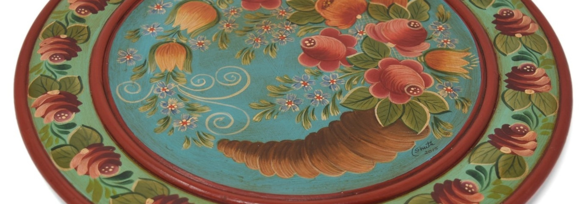 Wooden Plate with Horn of Plenty, Turquoise/Light Green