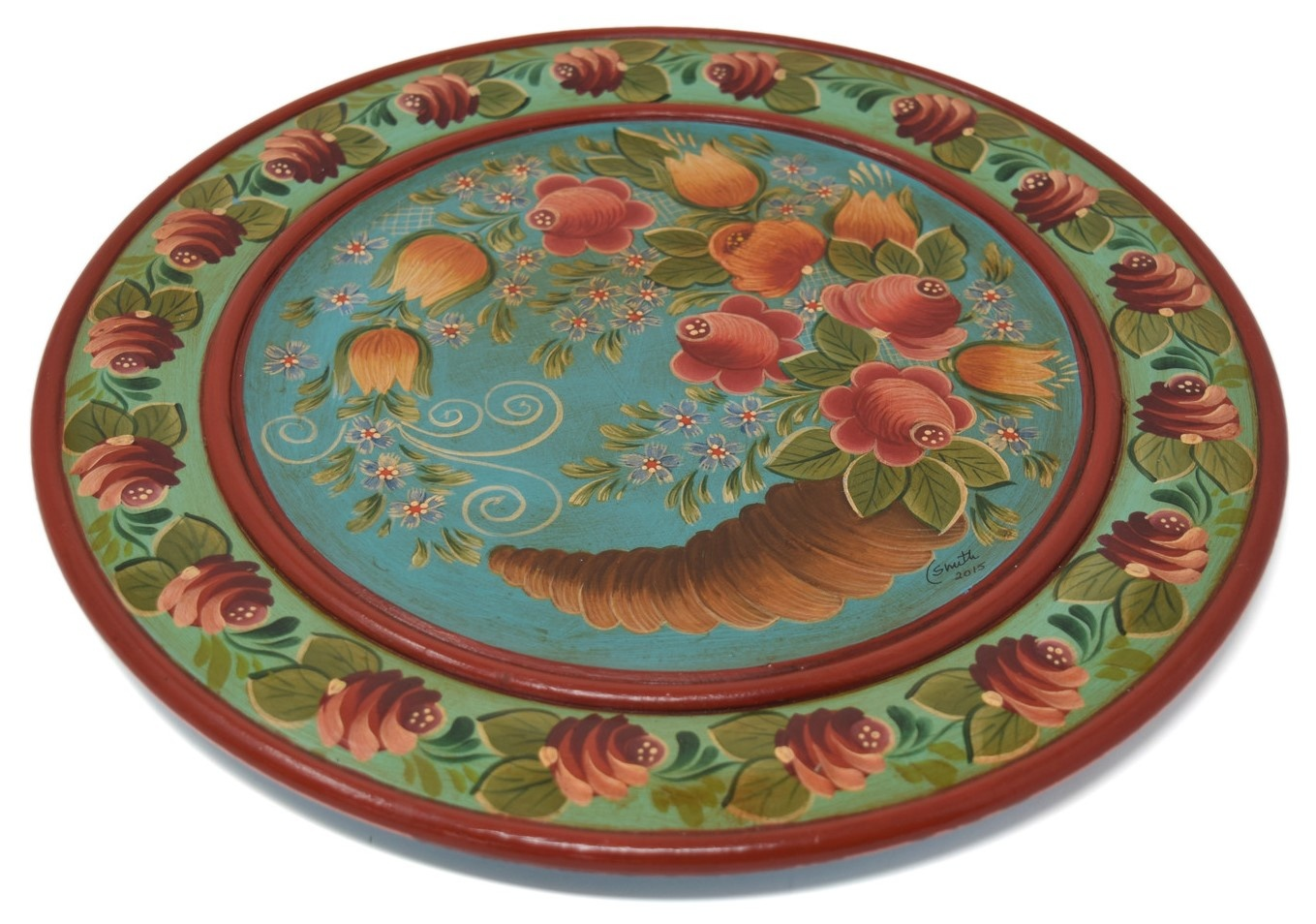 Wooden Plate with Horn of Plenty, Turquoise/Light Green-1