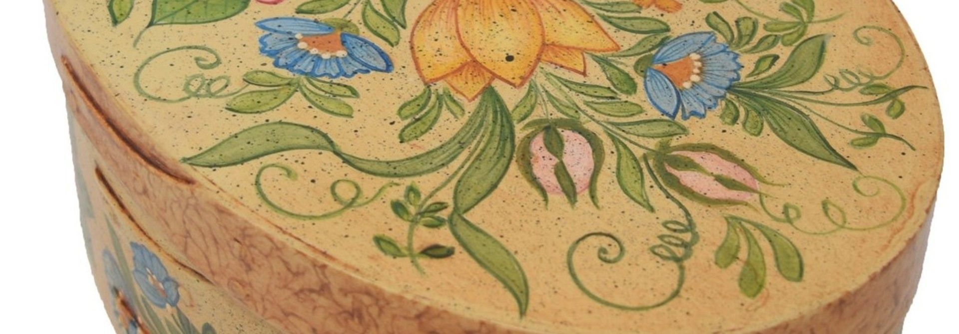 Oval Cream Box with Flowers