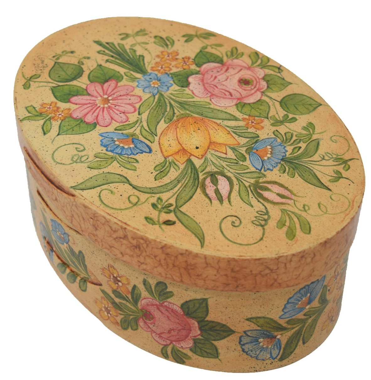 Oval Cream Box with Flowers-1