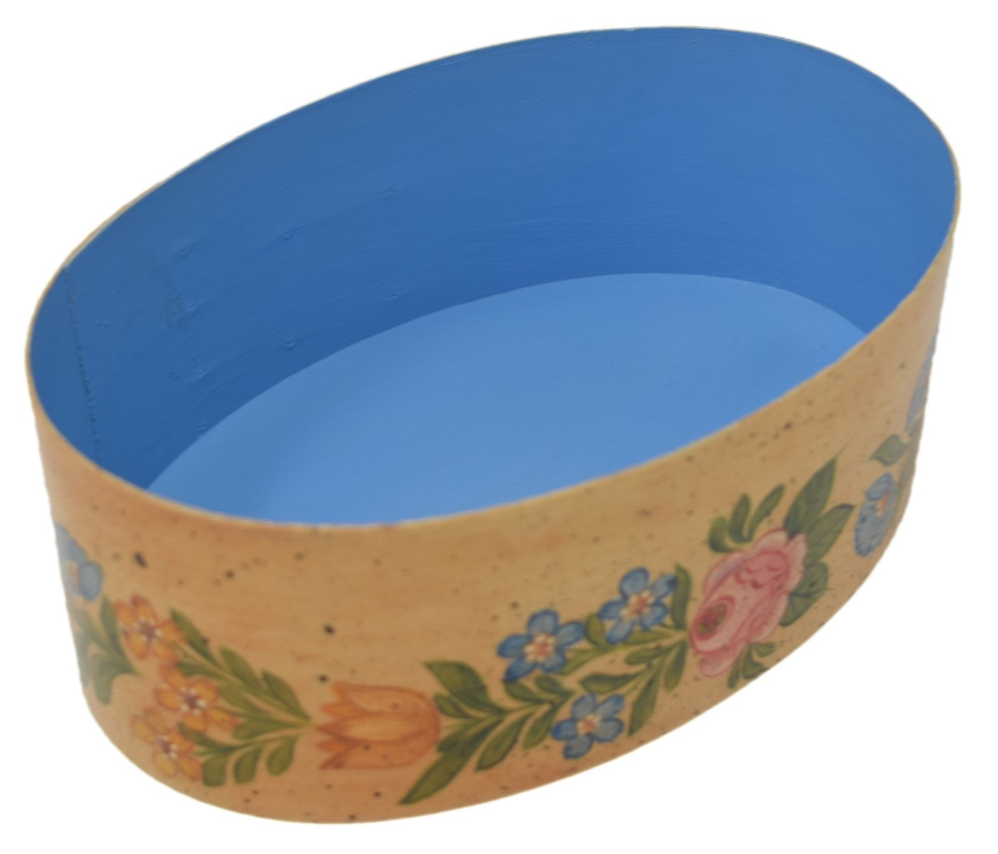 Oval Cream Box with Flowers-2