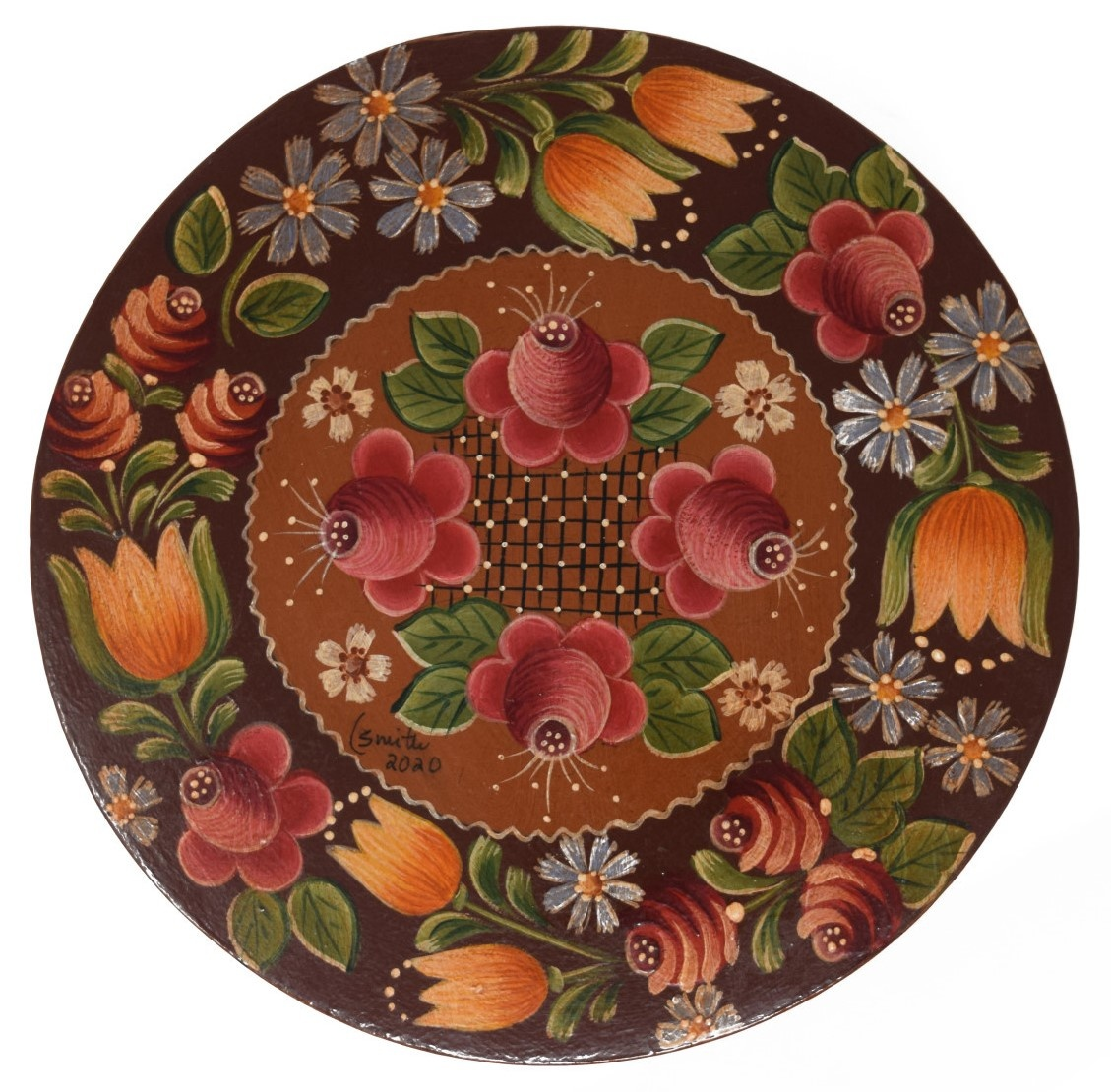 Round box brown with light brown center and flowers-1