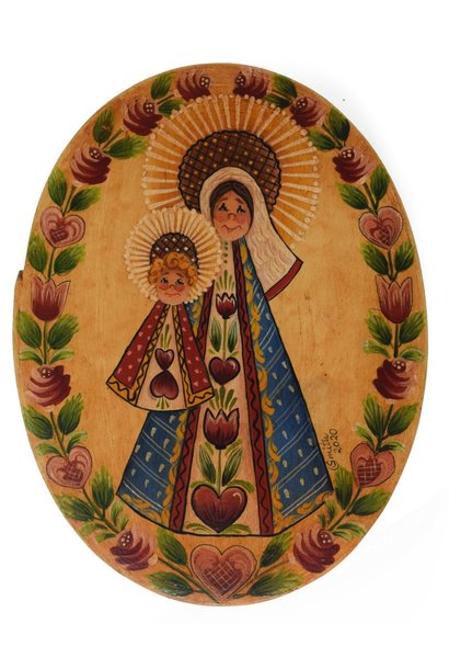 Oval box yellowish white with Mary and Baby Jesus