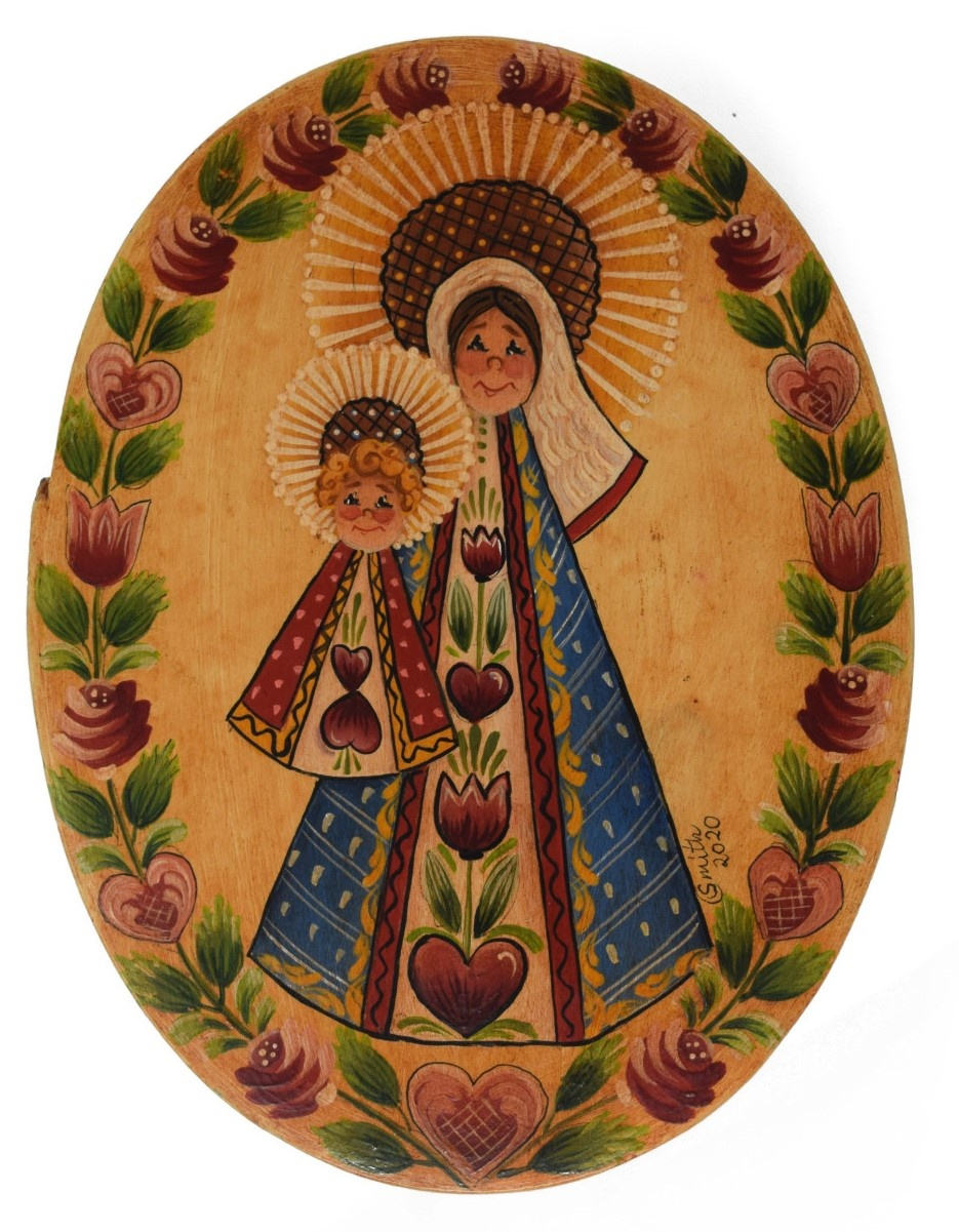 Oval box yellowish white with Mary and Baby Jesus-1