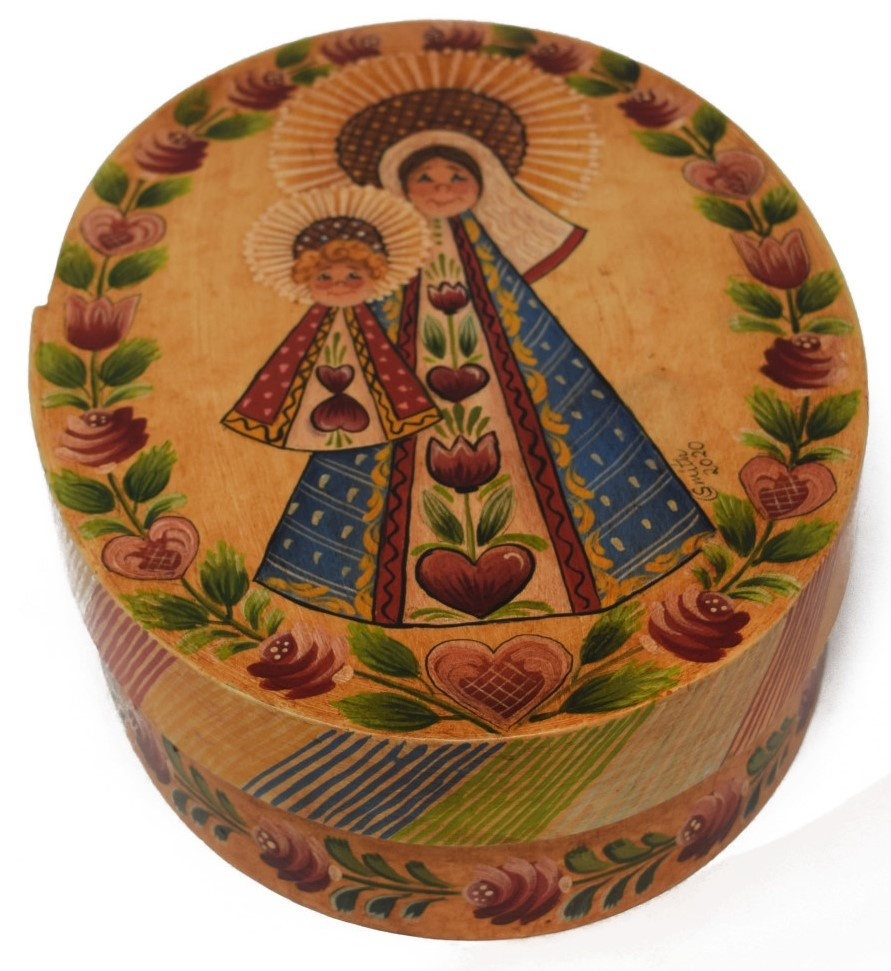 Oval box yellowish white with Mary and Baby Jesus-2