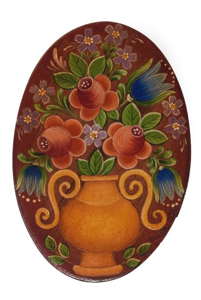 oval box brownish red with gold vase and flowers