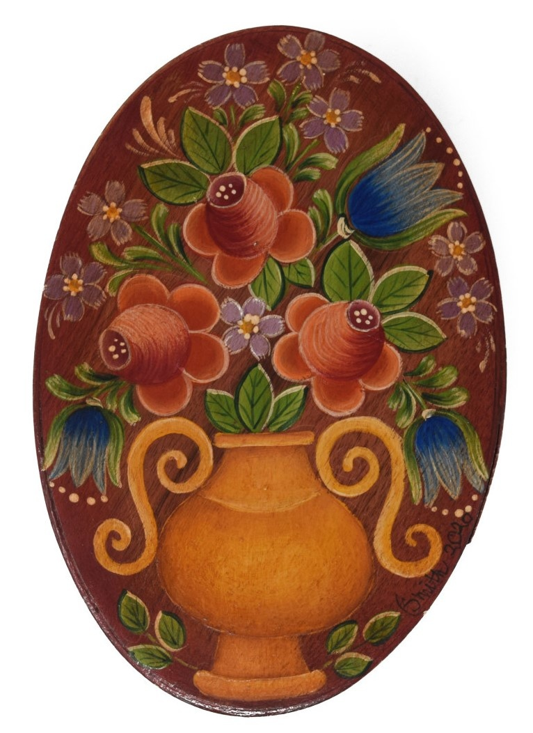 oval box brownish red with gold vase and flowers-1