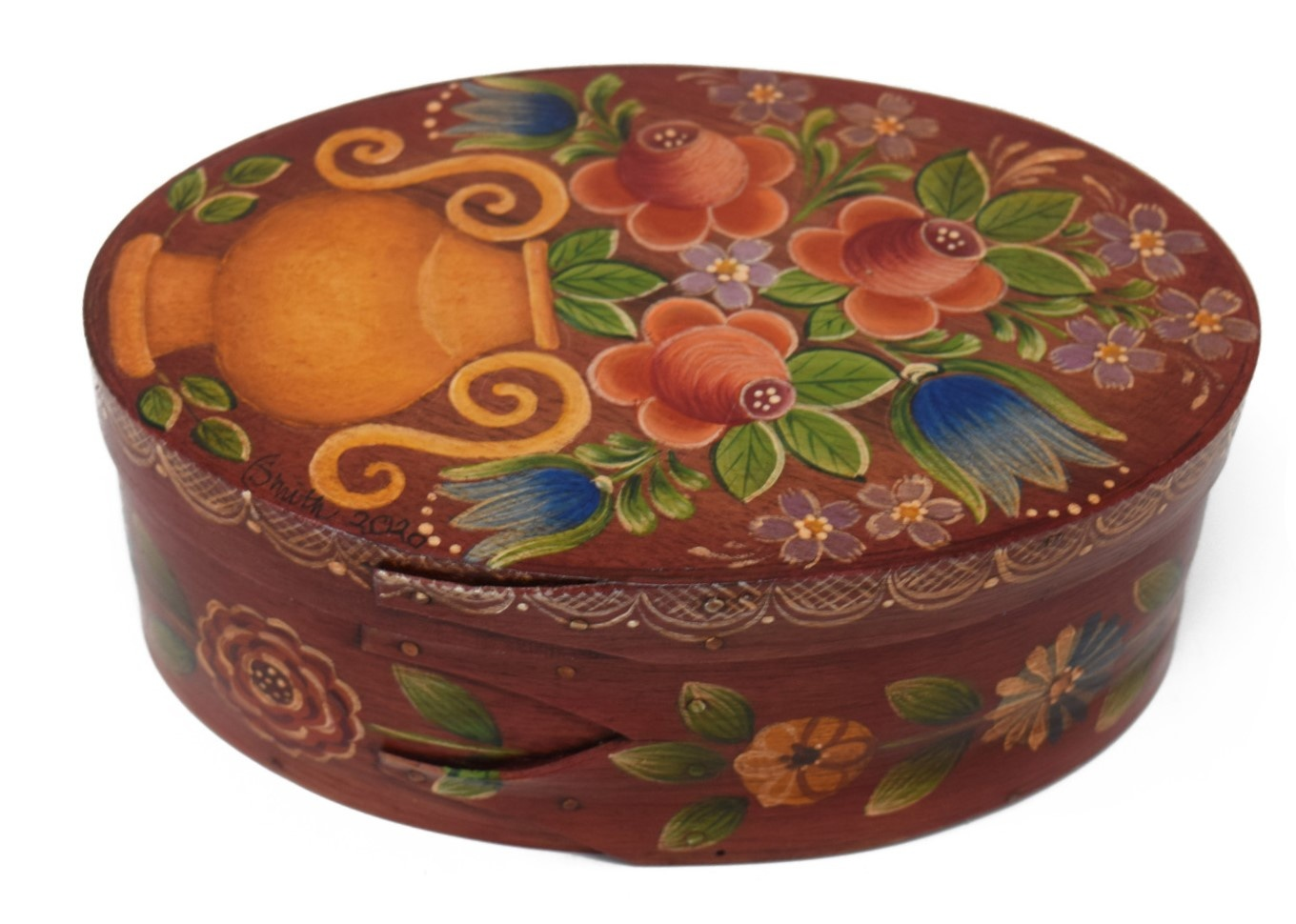 oval box brownish red with gold vase and flowers-2