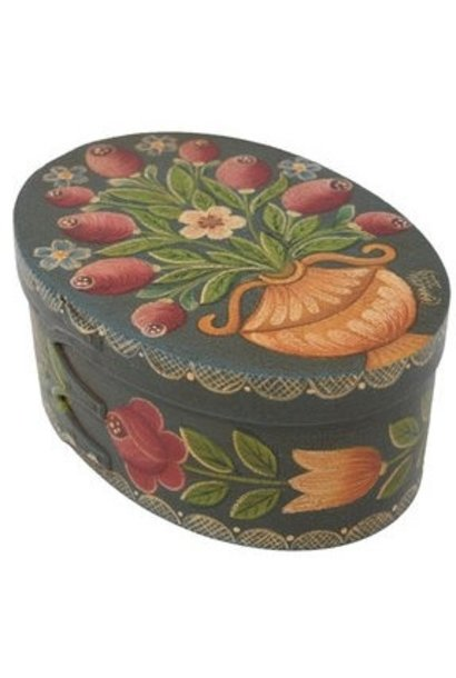 Dark Blue/Green Box with Vase & Roses Box