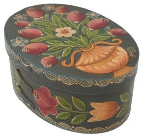 Dark Blue/Green Box with Vase & Roses Box-1