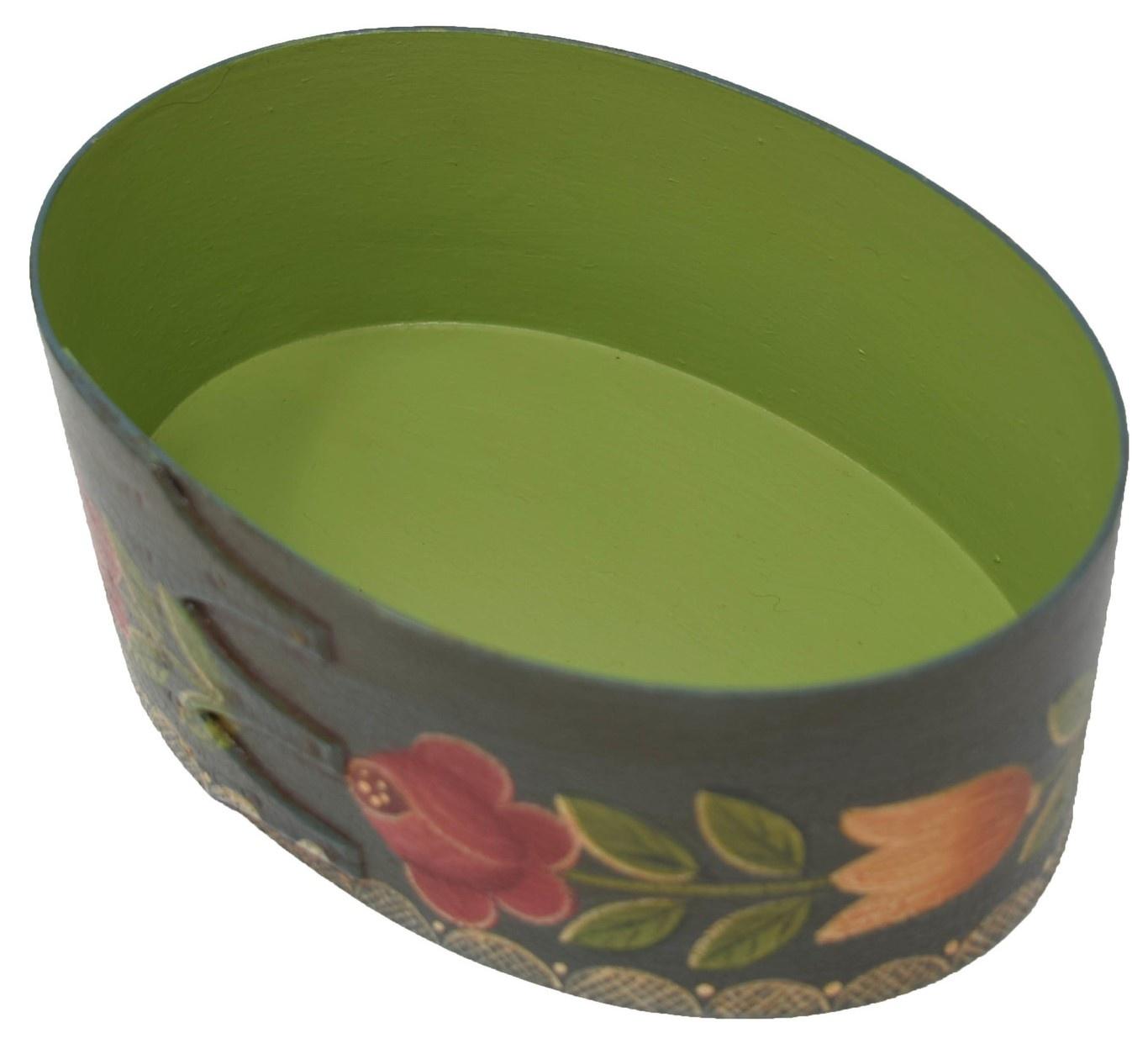 Dark Blue/Green Box with Vase & Roses Box-2