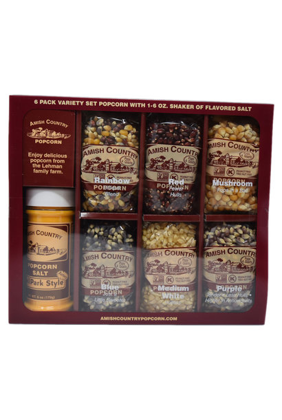 Amish Popcorn 6, 4oz popcorns with salt shaker