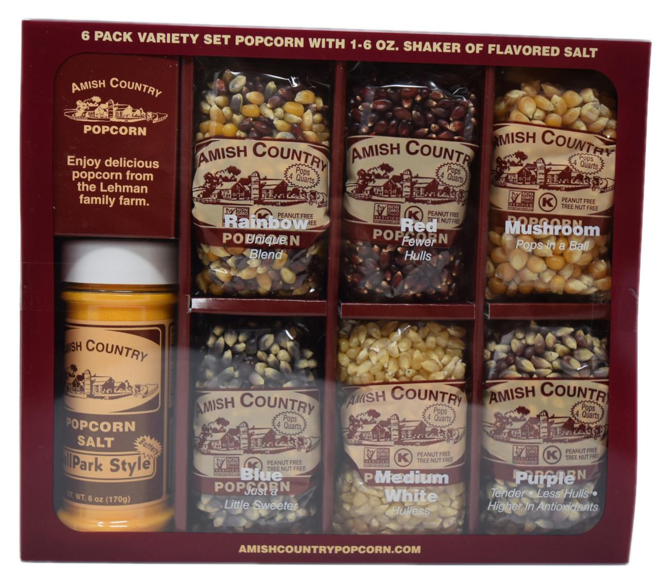 Amish Popcorn 6, 4oz popcorns with salt shaker-1