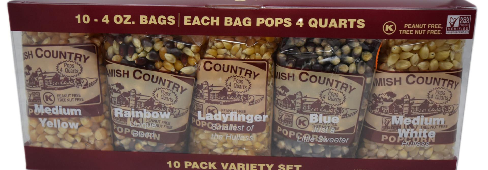 10, 4oz popcorn sampler set
