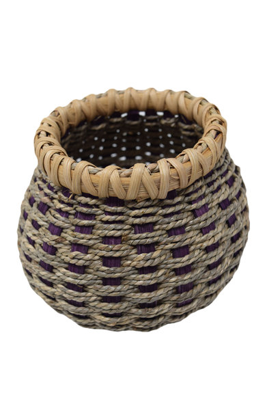 Seagrass bowl purple and Natural