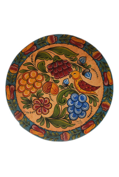 Round Box with Yellow and Turquoise Fruit, Flowers, and Bird