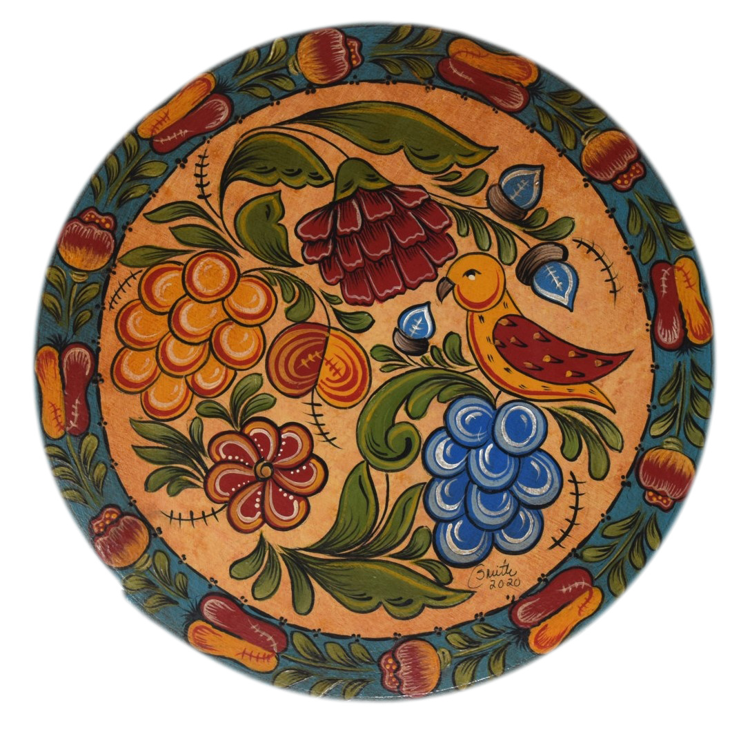 Round Box with Yellow and Turquoise Fruit, Flowers, and Bird-1