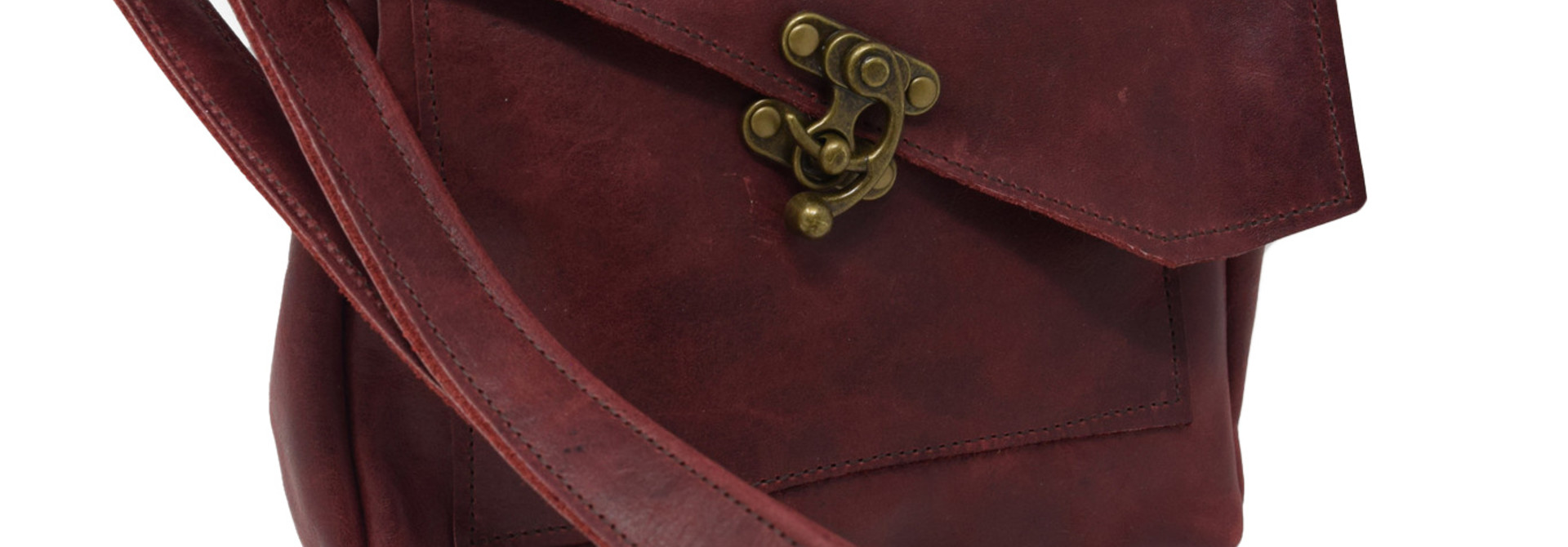 Leather Crossbody Deep Dark Red