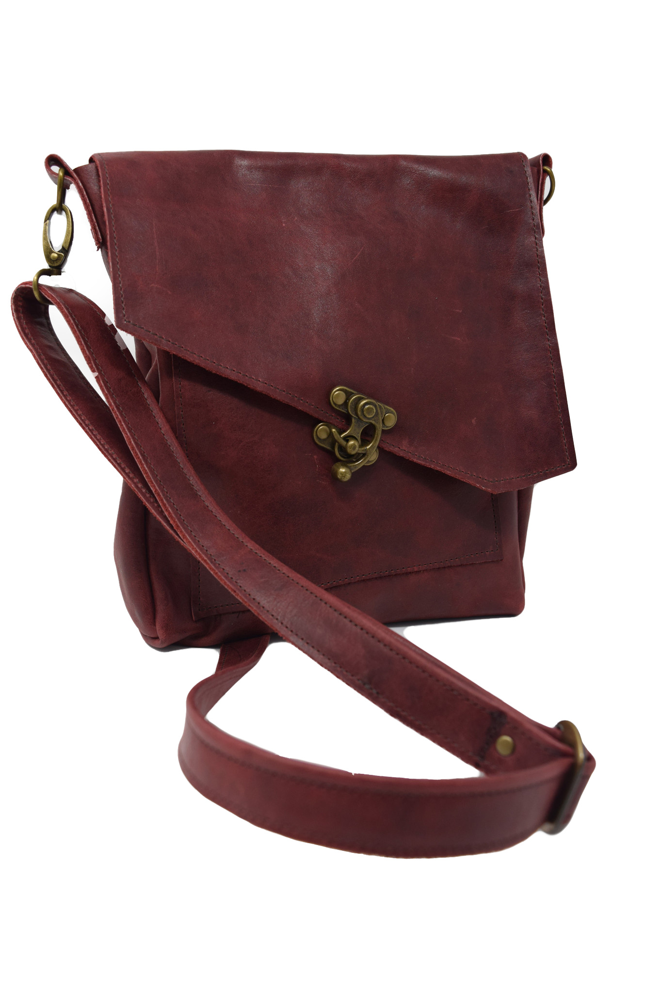 Leather Crossbody Deep Dark Red-1