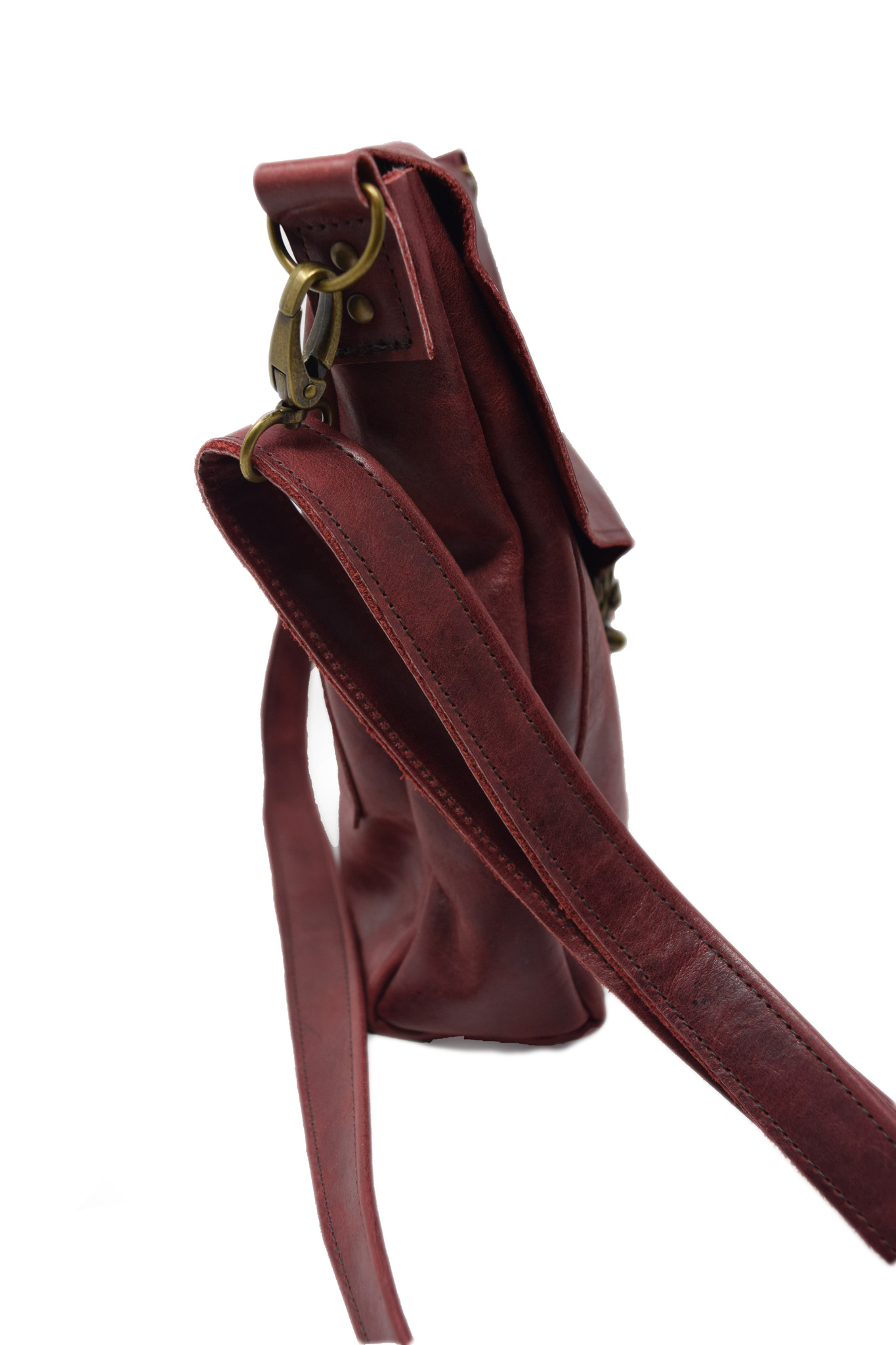 Leather Crossbody Deep Dark Red-2
