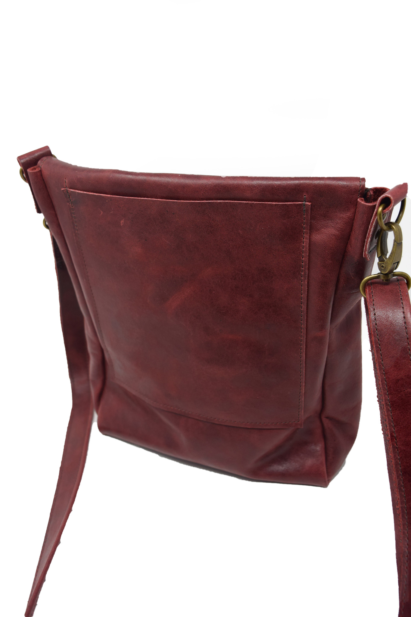 Leather Crossbody Deep Dark Red-3
