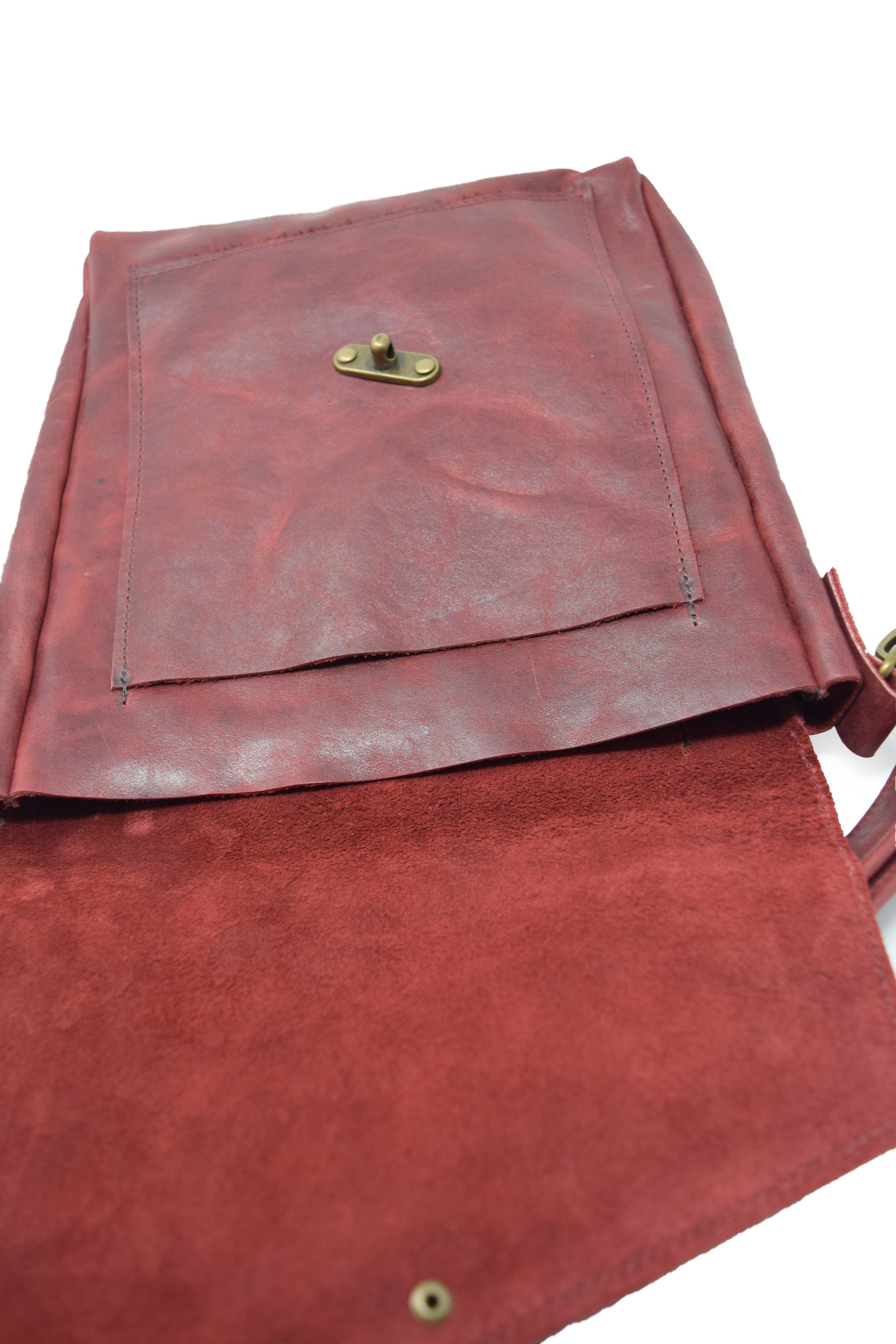Leather Crossbody Deep Dark Red-4