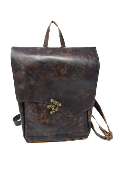 Small Leather Backpack Mottled Dark Brown
