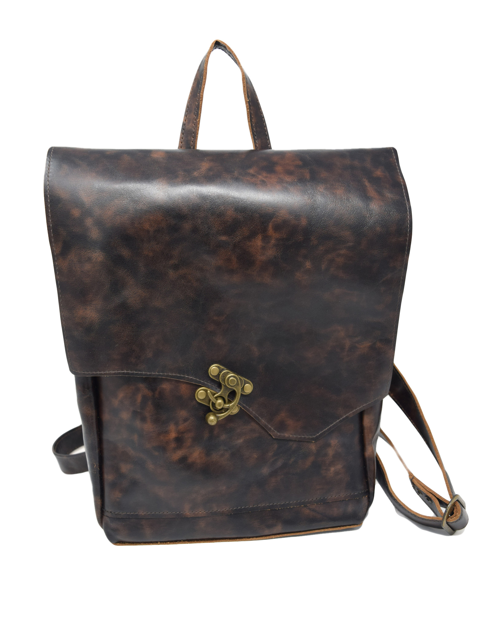 Small Leather Backpack Mottled Dark Brown-1