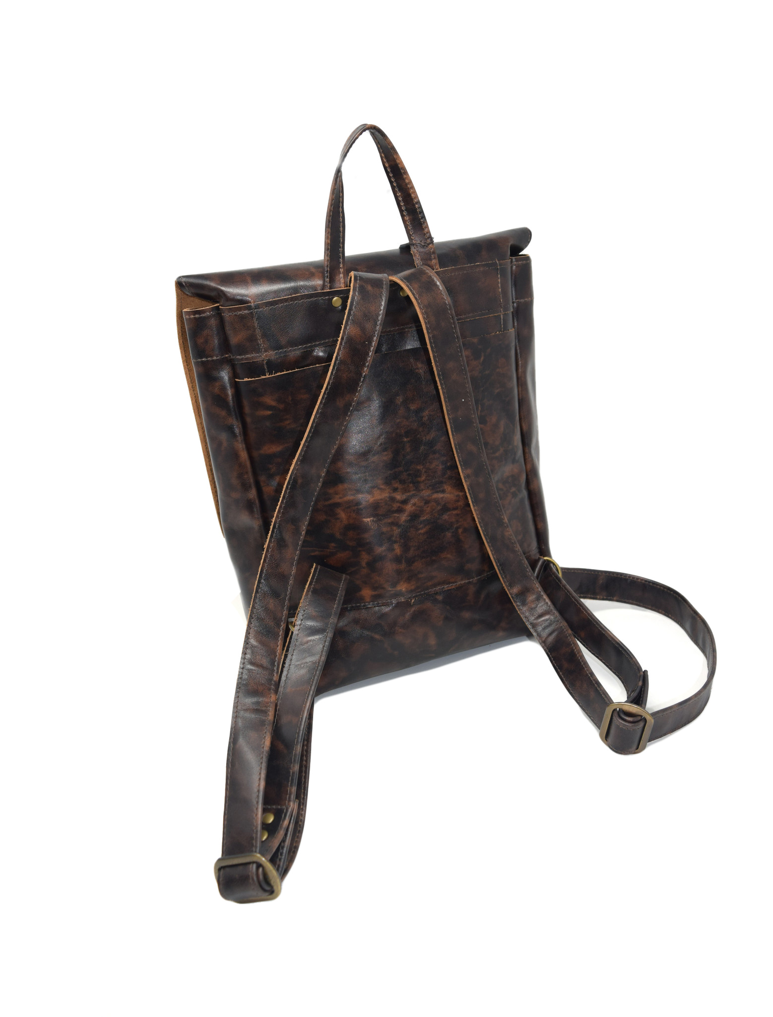 Small Leather Backpack Mottled Dark Brown-2