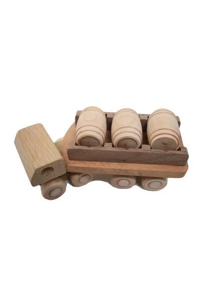 Wooden Barrel Truck Toy