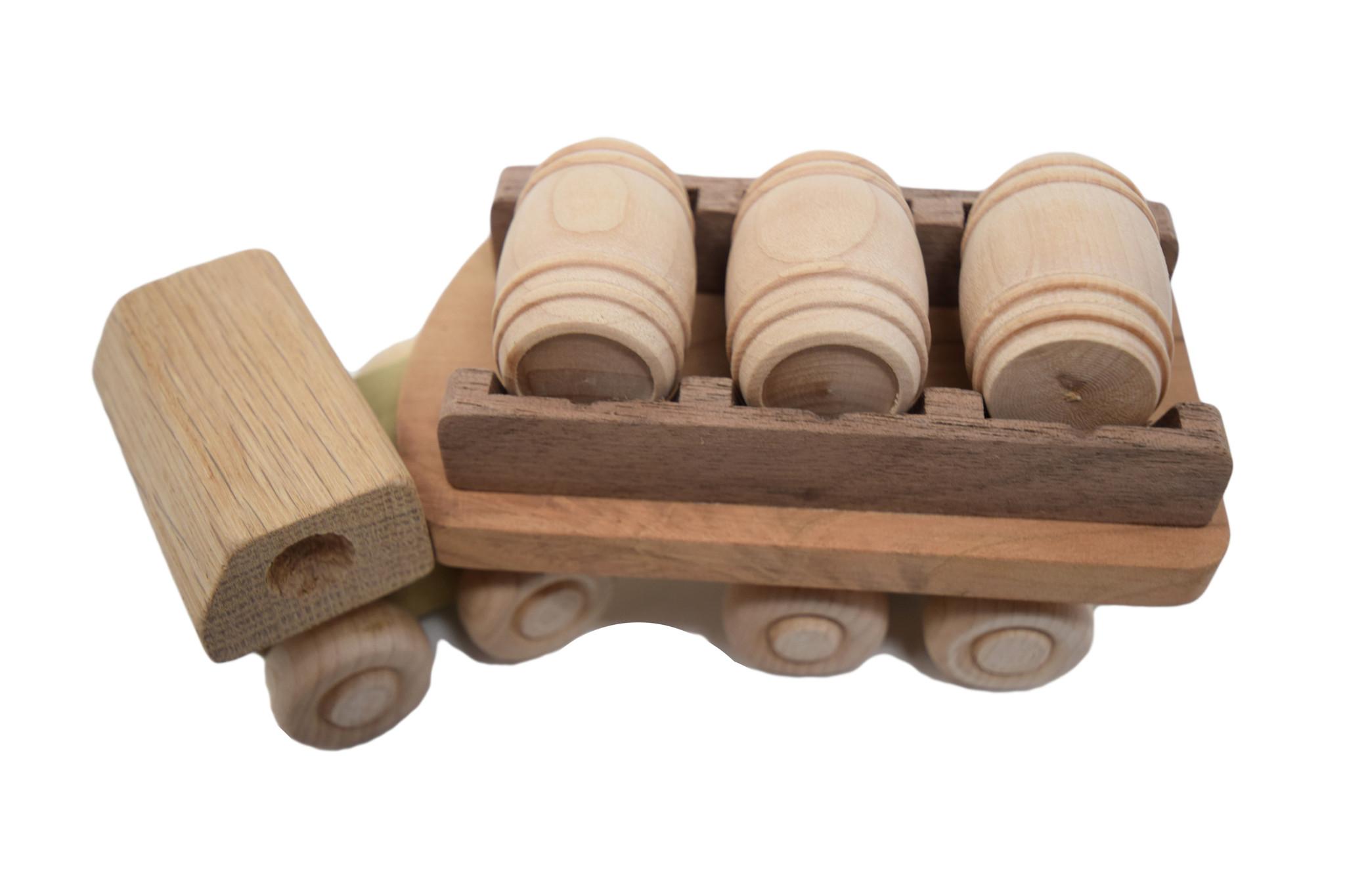 Wooden Barrel Truck Toy-1