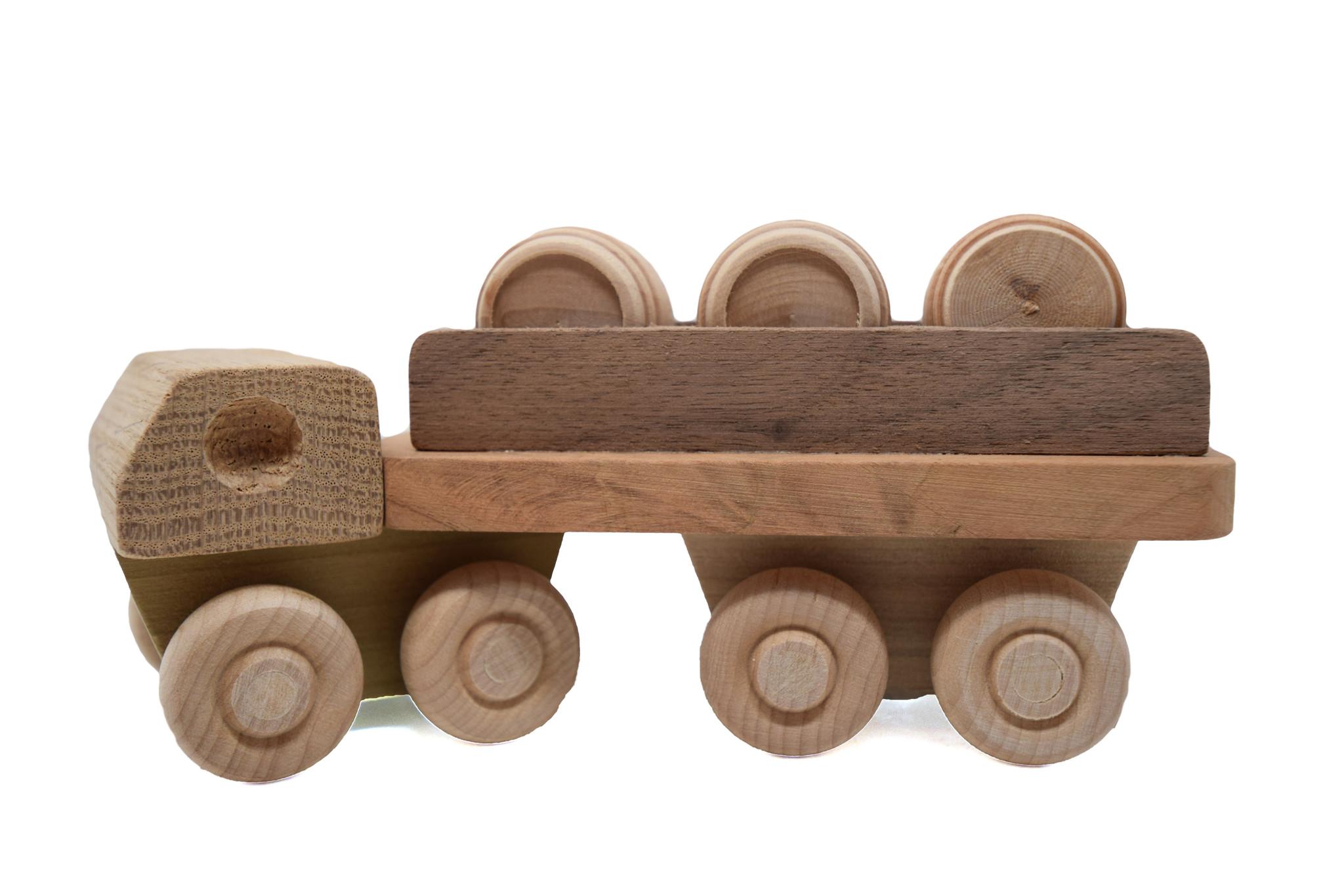 Wooden Barrel Truck Toy-2
