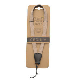 Cecilia Cecilia wrist strap sand alpaca / black leather - cord end