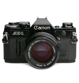 Canon Canon AE-1 35mm SLR Camera Black Body w/50mm f1.8