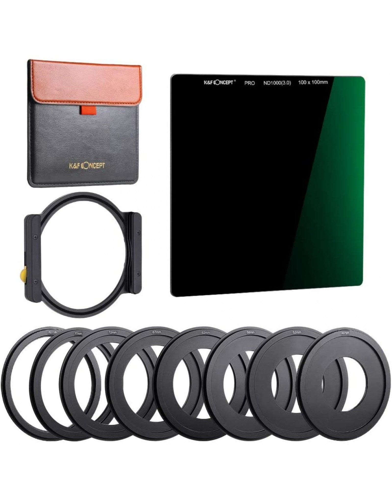 K&F K&F SN25T1 ND1000 Square Filter 100x100mm + Metal Holder, 8 Adapter Rings