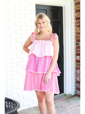 Molly Pink and Ivory Color Block Dress
