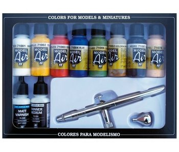 Vallejo: Model Air Basic Colors (10) And Airbrush