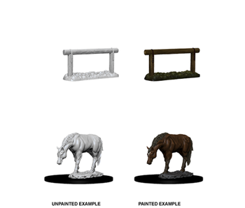 Wizkids Unpainted Minis Wv10 Horse And Hitch