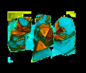 Chessex Gemini 7-Die Set Copper Turquoise / White