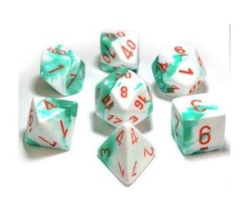 Chessex Gemini 7-Die Set Mint Green White / Orange