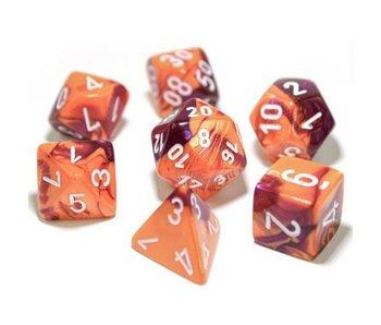 Chessex Gemini 7-Die Set Orange Purple / White