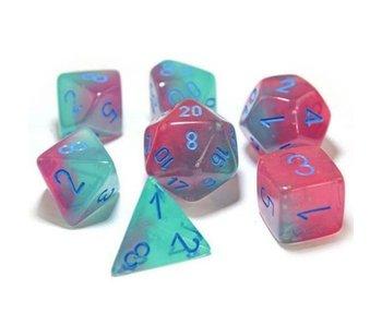 Chessex Gemini 7-Die Set Gel Green Pink / Blue