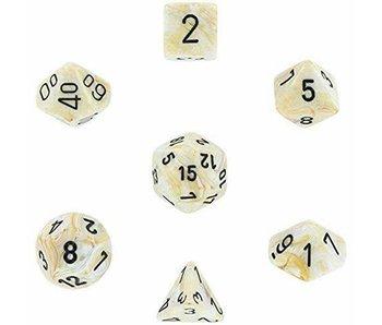 Chessex Marble 7-Die Set Ivory / Black