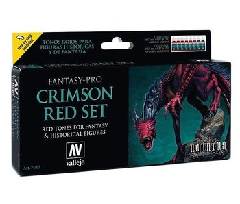 Vallejo: Fantasy Pro 8 Color Set - Crimson Red Set (8)