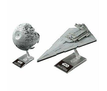 """Bandai Death Star II 1/2,700,000 & Star Destroyer 1/14,500 """"Star Wars"""", Bandai Star Wars Plastic Model"""