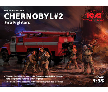 ICM Chernobyl #2. Fire Fighters firetruck & 4 figures & diorama base