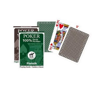 Piatnik Single deck 100% Plastic Poker Green/Brown